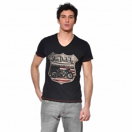 T-shirt col V coton homme Over Von Dutch vue de face noir