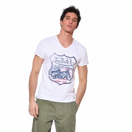 T-shirt col V coton homme Over Von Dutch vue de face blanc