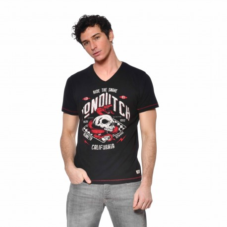 Men's Von Dutch Snake black cotton T-shirt front