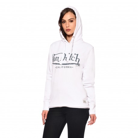 Women's Von Dutch Flow white sweatshirt with hood