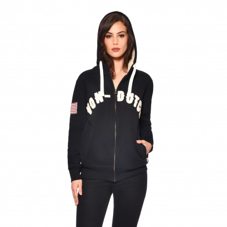 Women's Von Dutch Game black zipped sweatshirt with hood