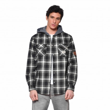 Men's Von Dutch Joe black plaid shirt with hood front
