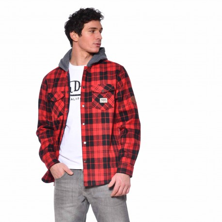 Men's Von Dutch Joe red plaid shirt with hood front