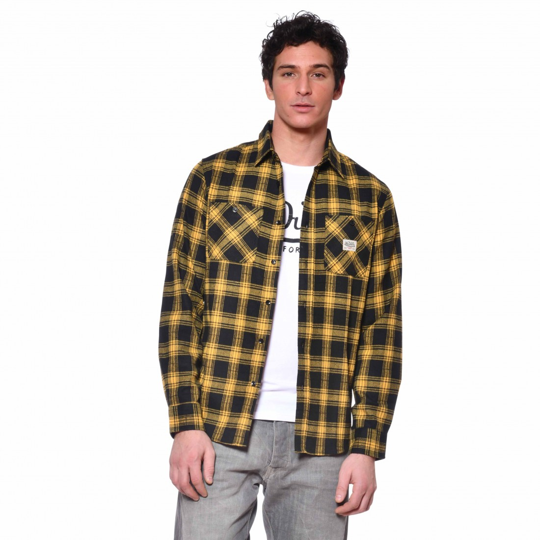 Men's Von Dutch Jack yellow plaid shirt front