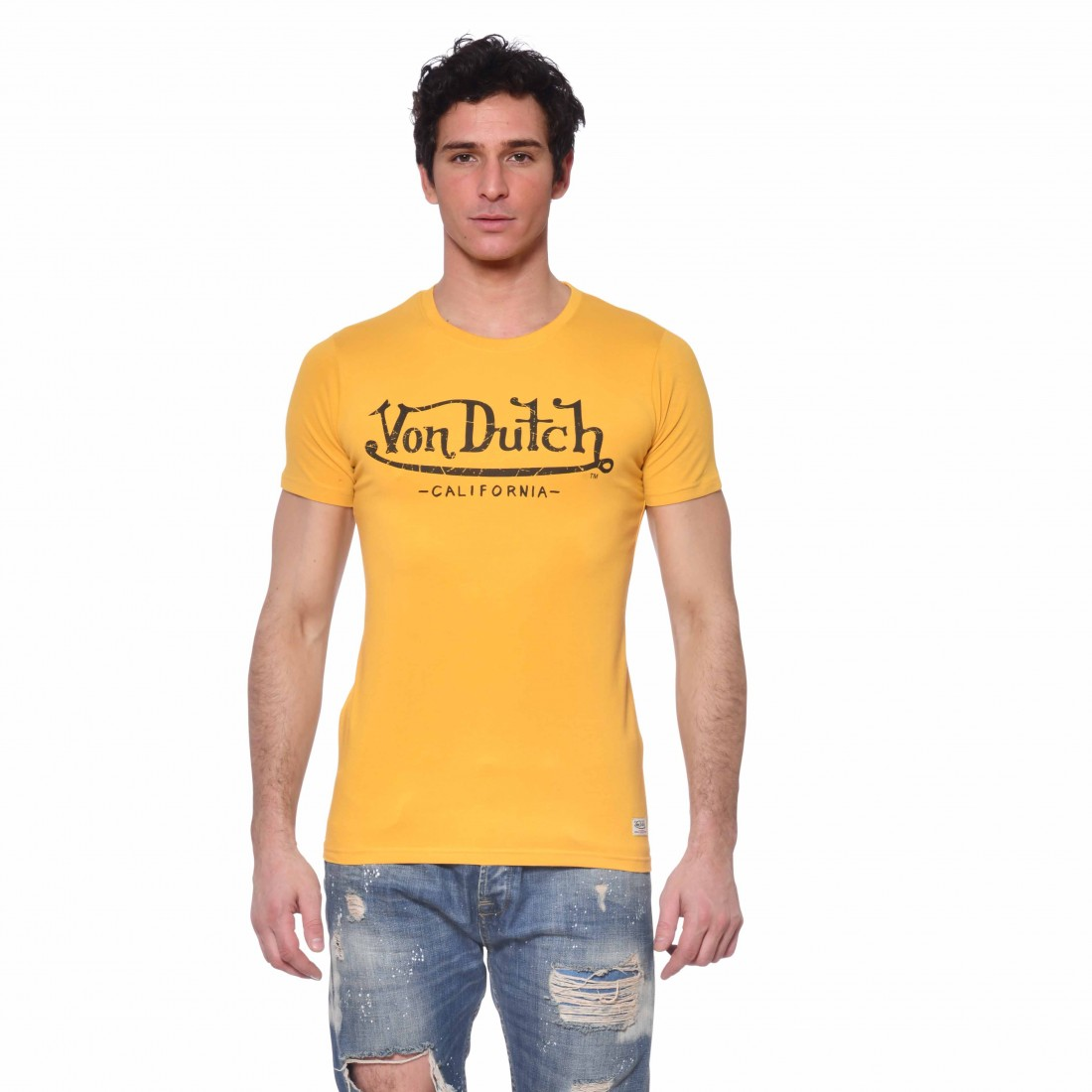 Men's Von Dutch Life yellow T-shirt front