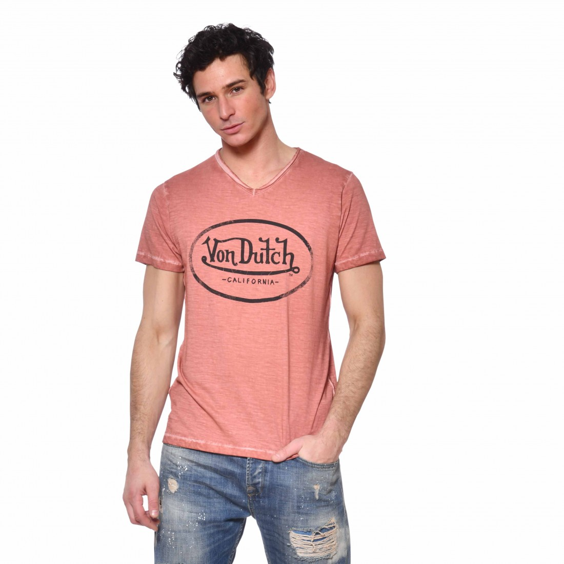 T-Shirt Von Dutch homme Col en V Ron vue de face