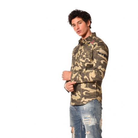 Chemise homme manches longues Camouflage War