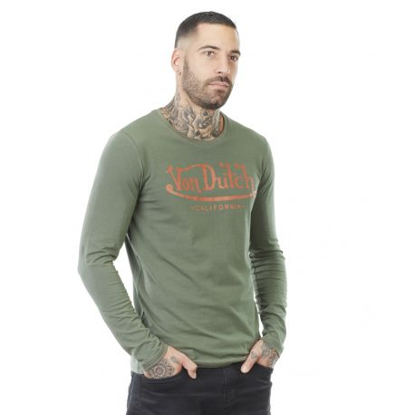 Men's Von Dutch Big kakhi cotton long sleeve T-shirt