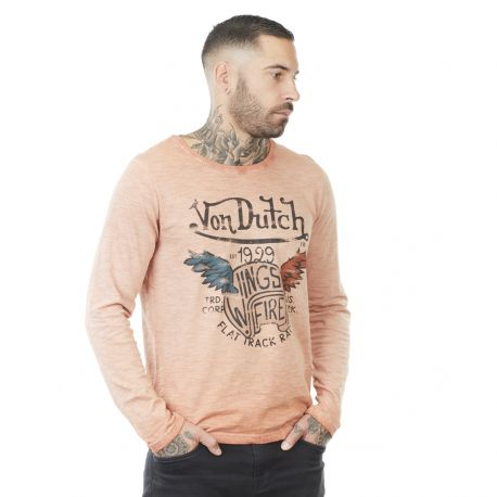 Men's Von Dutch Truck orange cotton long sleeve T-shirt