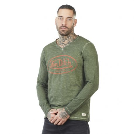 Men's Von Dutch Run kakhi cotton long sleeve T-shirt