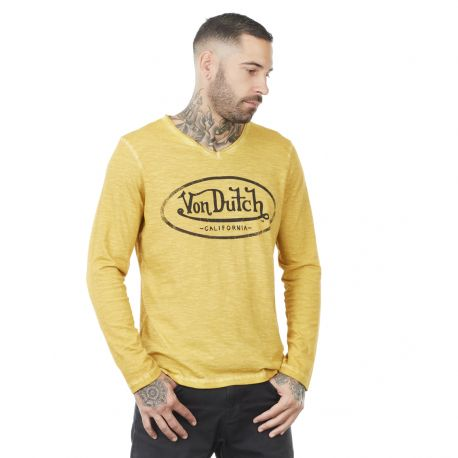 Men's Von Dutch Run yellow cotton long sleeve T-shirt