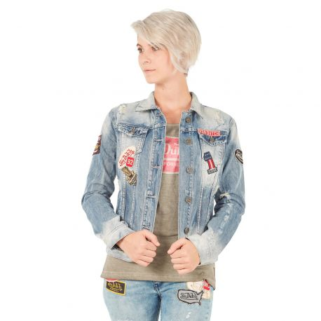 Veste Jeans Femme Von Dutch Sally Used Bleu