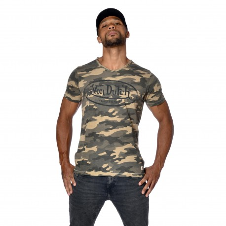 T-shirt homme col V slim fit Camouflage Ron